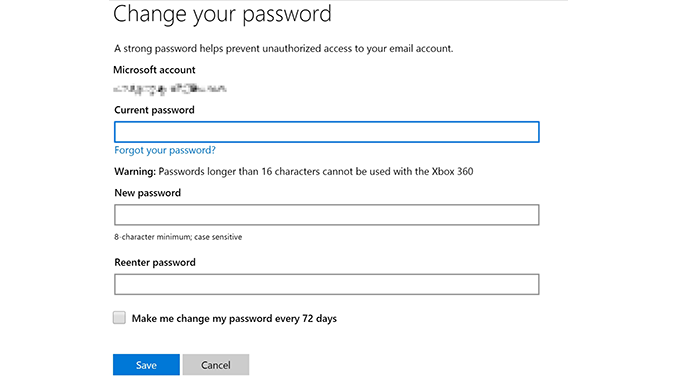 Hotmail Change Password
