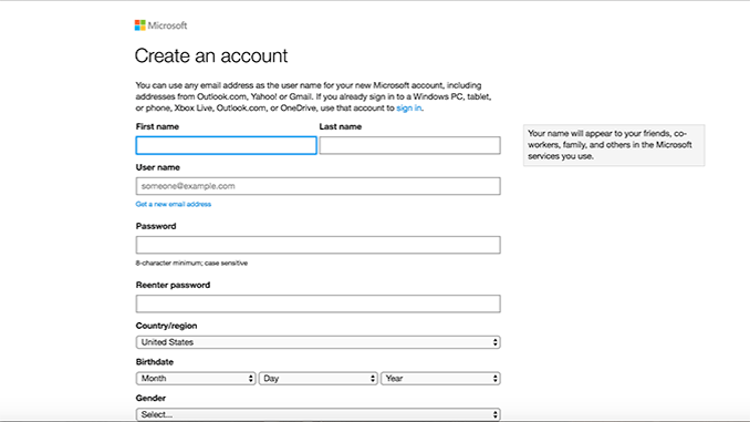 Hotmail Create Account