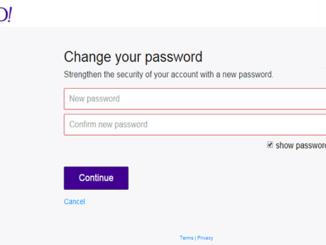 Yahoo mail change password
