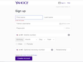 Yahoo Mail create Account