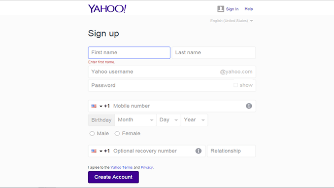 Yahoo Mail create Account