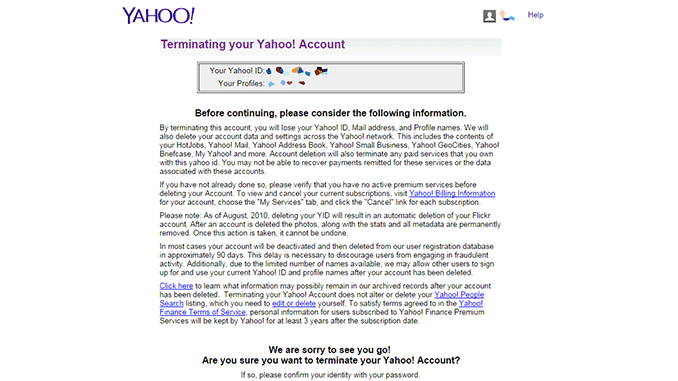Delete Account Yahoo Mail
