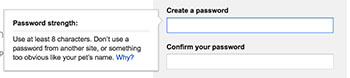 Creating gmail password