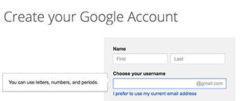 Create username for Gmail