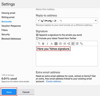 Create Yahoo Signature