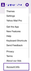 Account info Yahoo Mail
